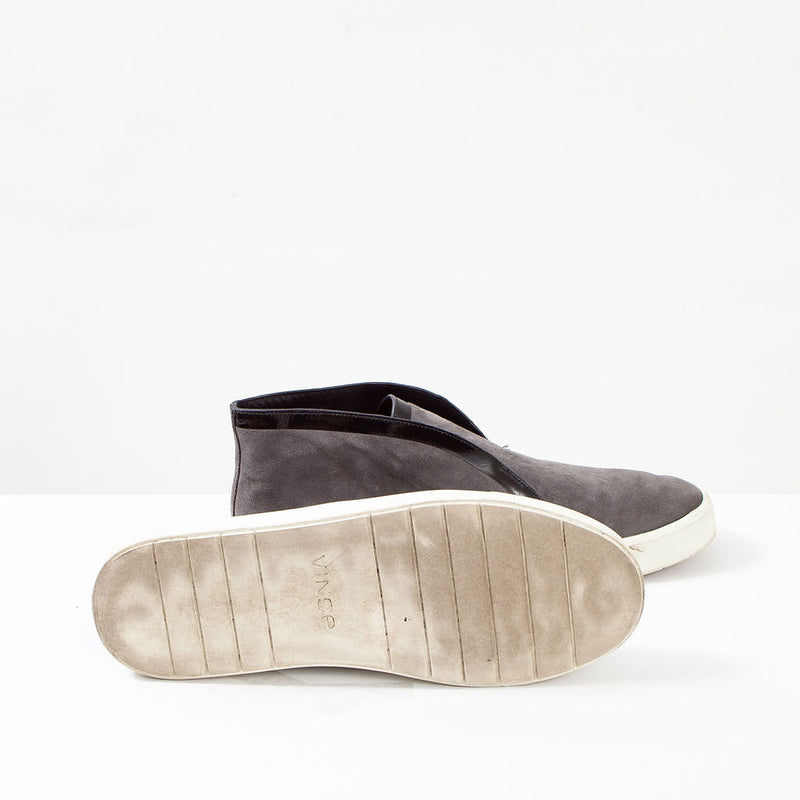 Vince. Grey Suede Slip On Sneaker with Black Trim