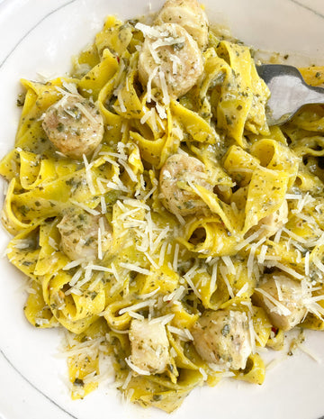 Pesto Pappardelle with Plant-Based Bay Scallops