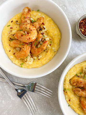 Mind Blown Dusted Shrimp and Grits