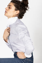 Load image into Gallery viewer, Garçon Shirt in Grey Banker Stripes