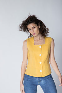 Mother of Pearl Button Vest in Izamal Linen