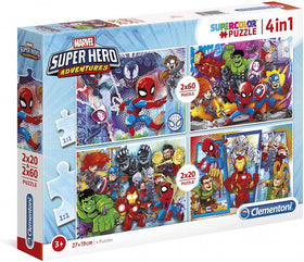 Kinderpuzzel 4-in-1 Superhero Adventures - 2 x 20, 2 x 60 stukjes