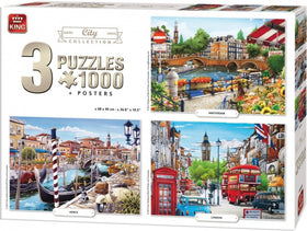 City Collection Puzzle - 3 x 1000 stukjes