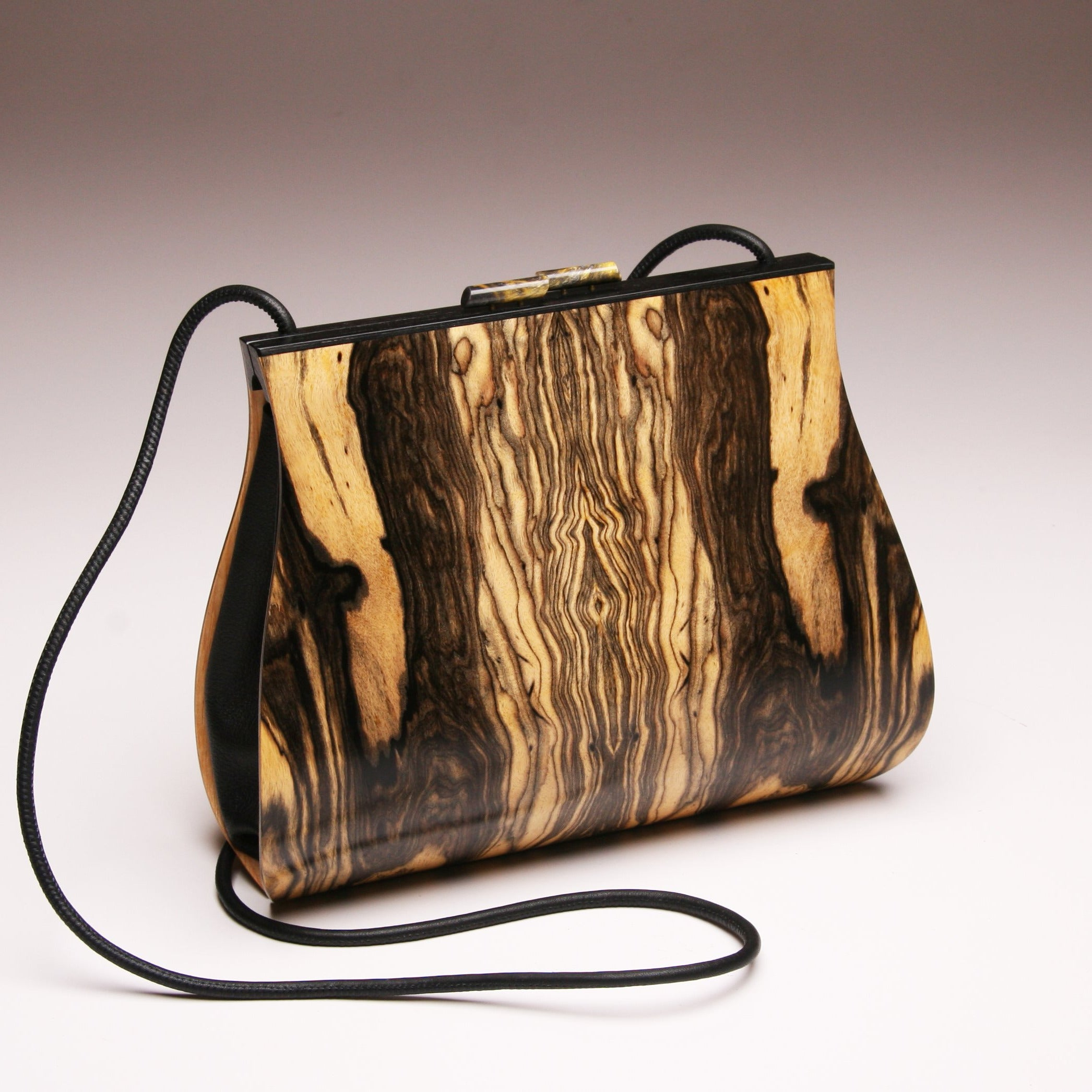 """Dianella"" Large Wood Handbag-Single Strap - Book-Matched Royal Ebony (contact for availability)"