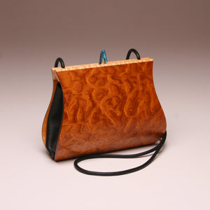 """Sativa"" Medium Handbag-Single Strap - Pommele Obechi with Maple Top Edge"