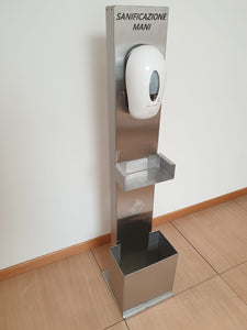 Sanitation column in stainless steel - with automatic dispenser