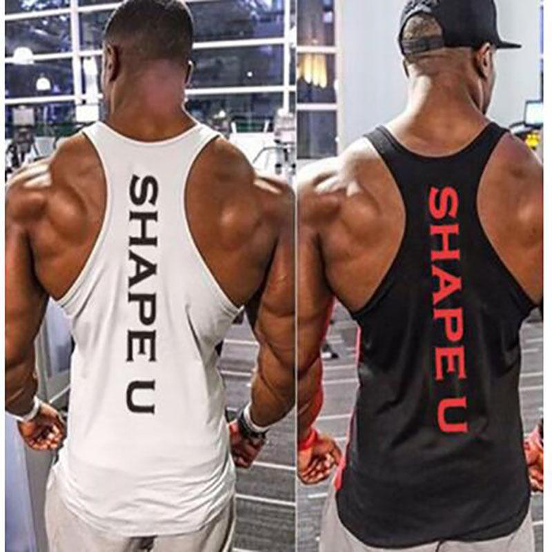 Sports Running Men Fitness Tops Tee Shirt Stringer Bodybuilding Singlets Muscle Vest Workout Shirt M-3XL