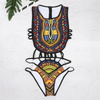 Sexy Women Ethnic Floral Swimsuit African Bathing Suit High Waist Printed Cover Up Bikini Set Bathers Swimwear Beachwear
