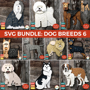 SVG BUNDLE: Layered Dog Breeds Part 6