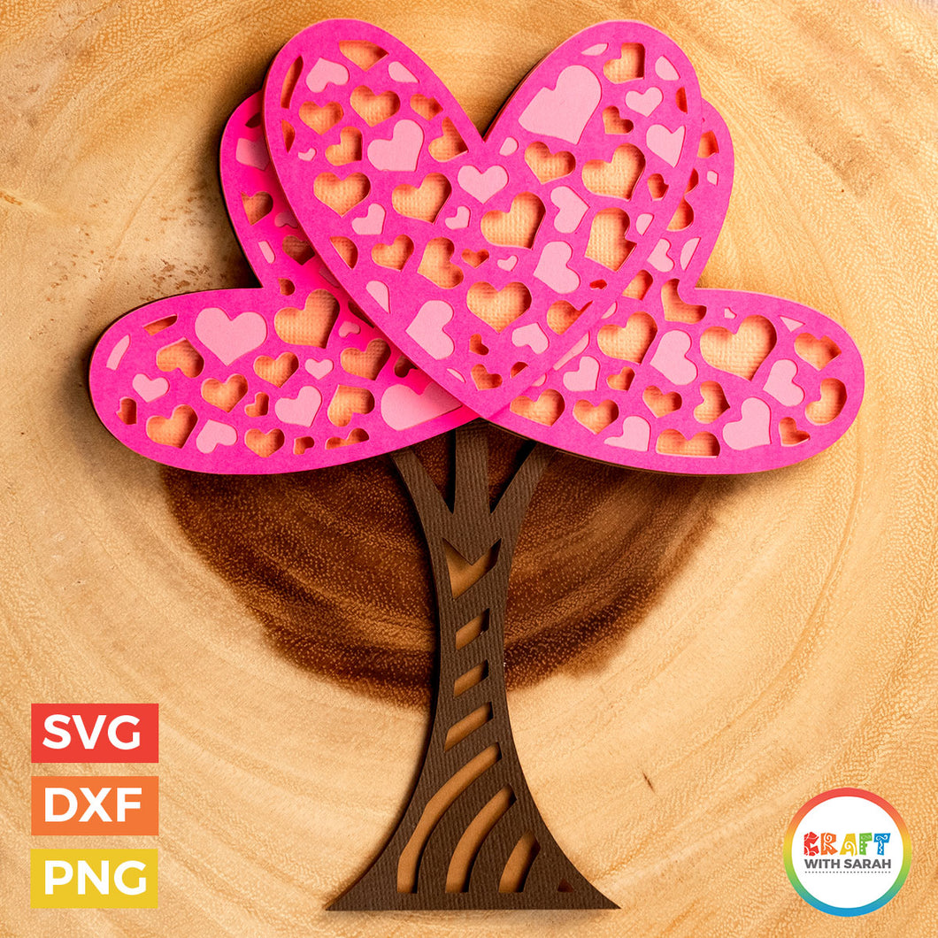 Valentine's Day Love Tree SVG | Layered Tree of Love Cutting File