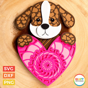 Dog with Heart SVG | Layered Valentine's Day Dog Cutting File