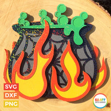 Load image into Gallery viewer, Witch's Cauldron Layered SVG | Halloween Cauldron Cutting File