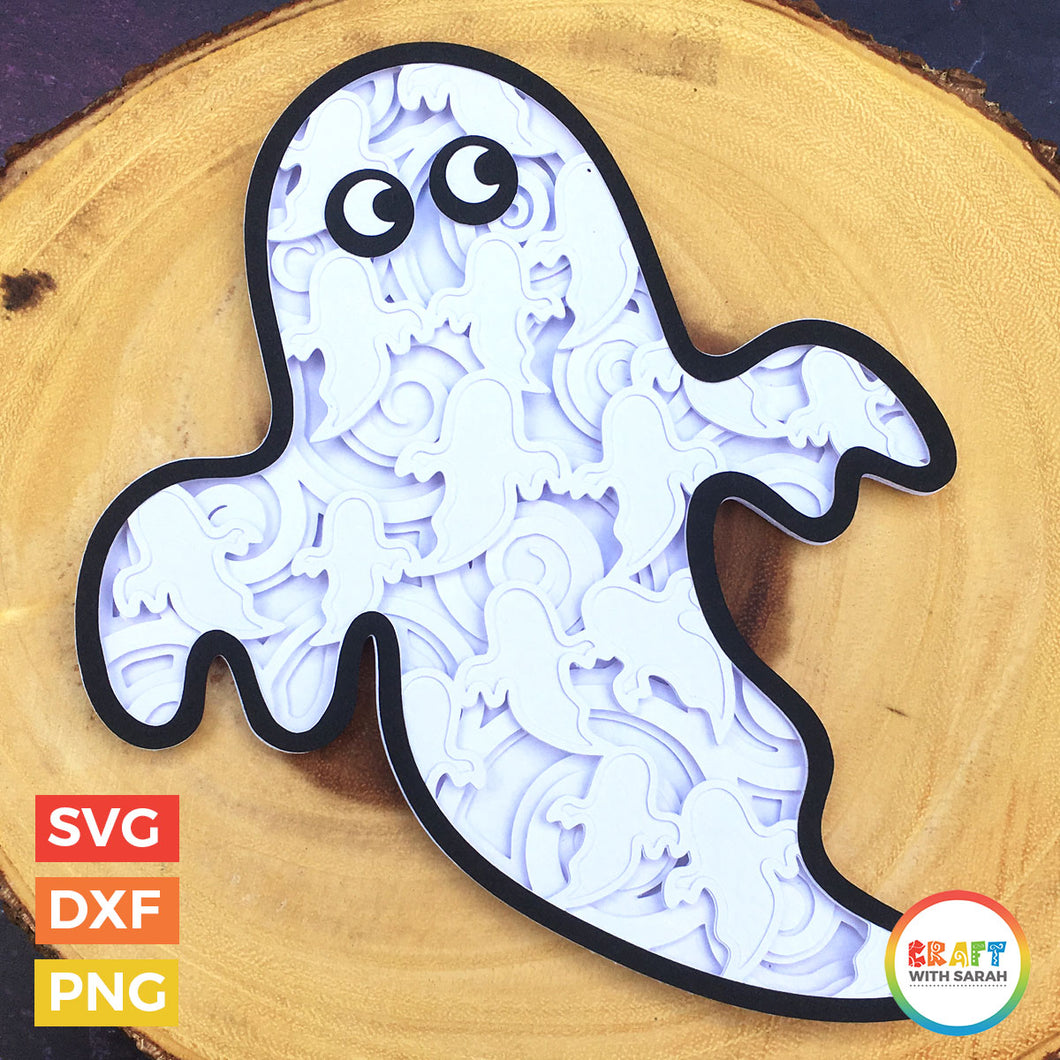 Halloween Ghost Layered SVG | Mandala Ghost Cutting File