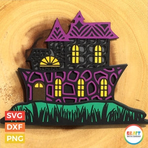 Haunted House SVG | Halloween House Layered Cutting File
