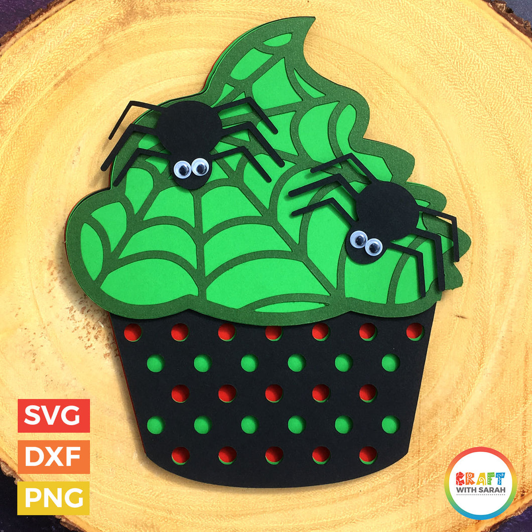 Halloween Cupcake SVG | Spooky Cupcake Layered Cutting File