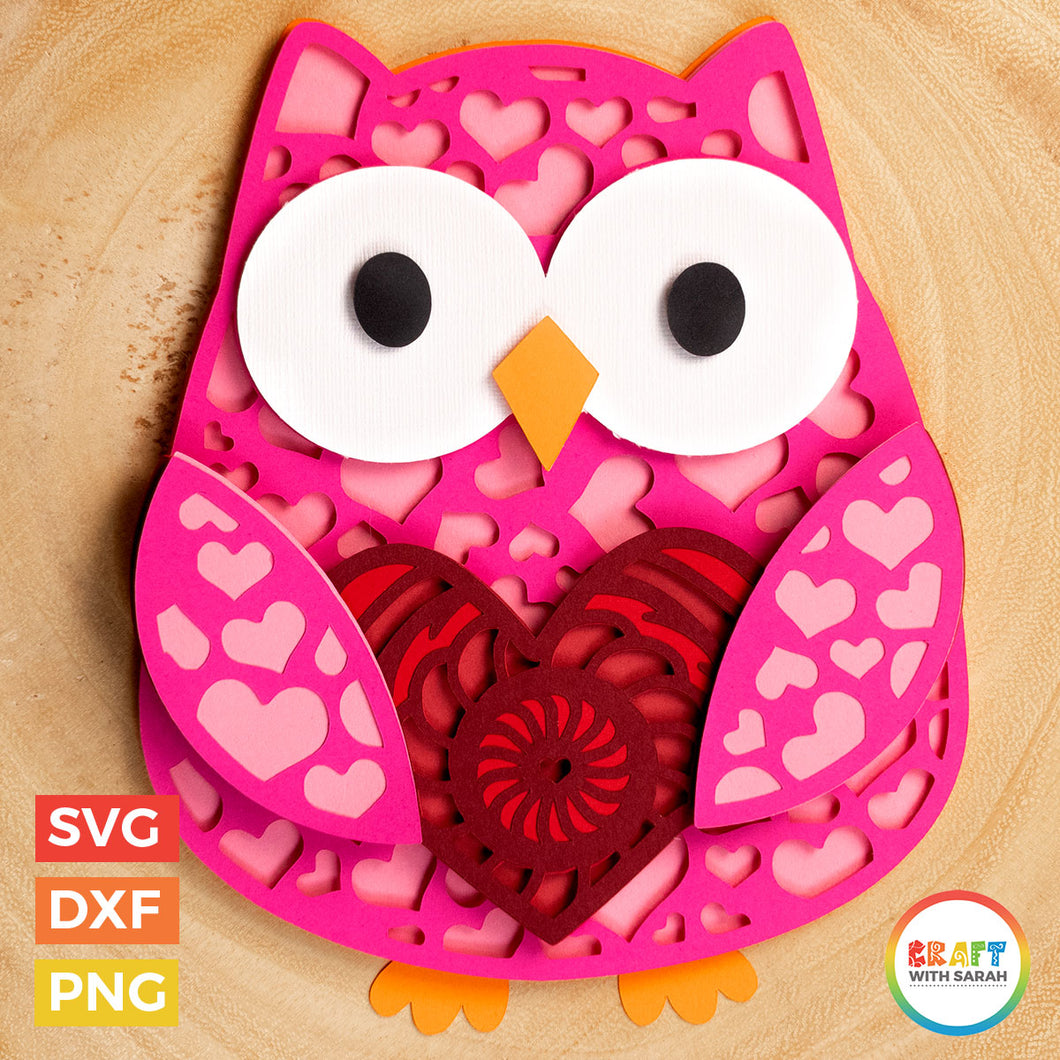 Owl SVG | Layered Valentine's Day Owl Cutting File