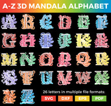 Load image into Gallery viewer, Full A-Z Alphabet - 3D Layered Alphabet SVGs