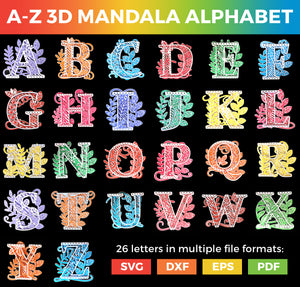 Full A-Z Alphabet - 3D Layered Alphabet SVGs