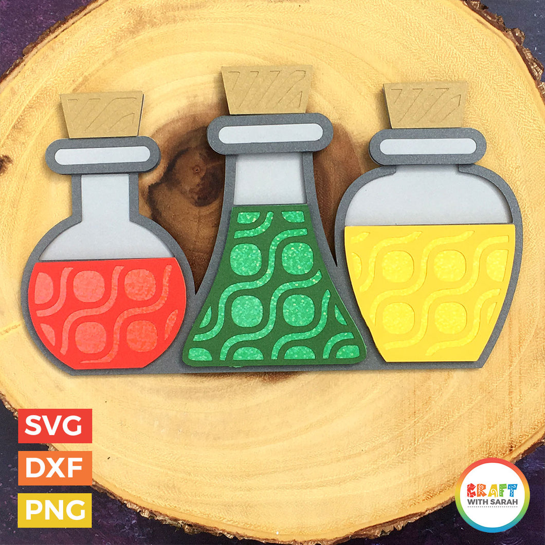 Halloween Potion Bottles Layered SVG | Potions Cutting File