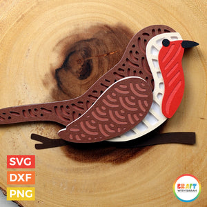 Christmas Robin SVG | Layered Robin Bird Cutting File