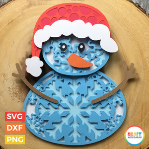 Christmas Snowman SVG | Layered Snowman Cutting File