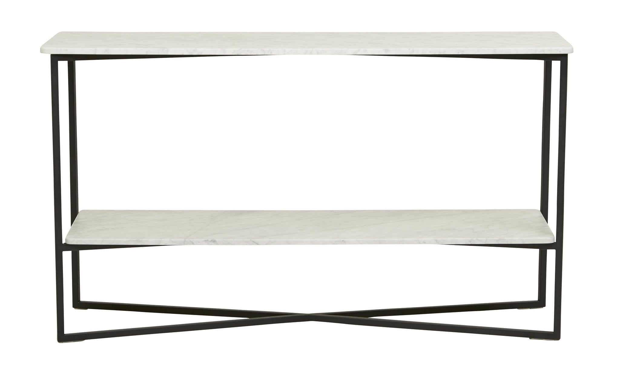 Elle Luxe Console Table White Marble/ Black