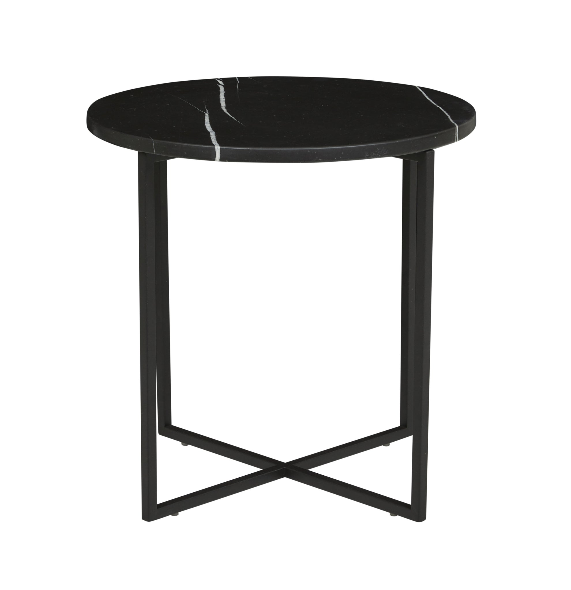 Elle Luxe Side Table Matt Black Marble/ Black