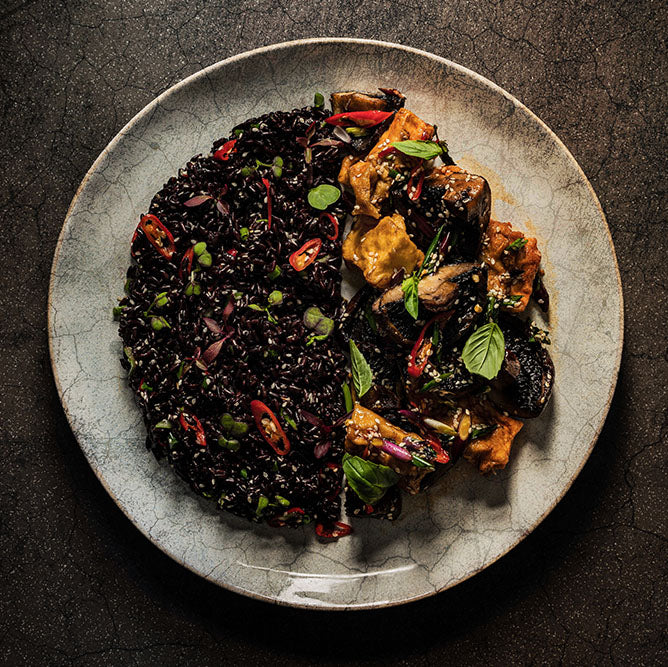 BLACK PEPPER STICKY TOFU AND FORBIDDEN BLACK RICE