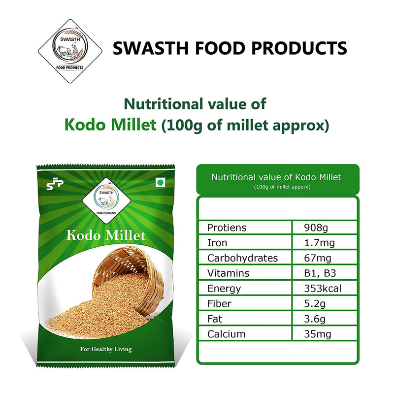 Swasth Unpolished and Natural Kodo Millet (Other Names of Kodo Millet - Koden, Kodra, Varagu, Arikelu, Arika, Harka, Koovaragu, Kodua)