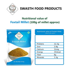 Swasth Unpolished and Natural Foxtail Millet (Other Names of Foxtail Millet - Navane, Kangni, Kakum, Rala Thinai, Korra, Navane, Thina Kang, Rala, Kang, Kaon Kanghu, Kangam, Kora)