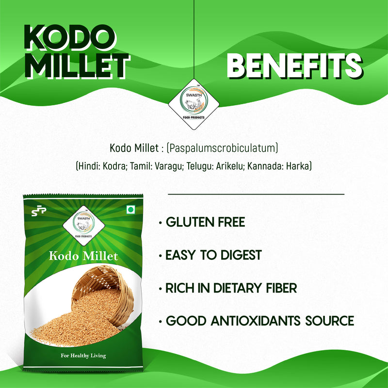 SWASTH Organic and Natural Millet Combo Pack of 3 (Little Millet, Kodo Millet, Foxtail Millet)