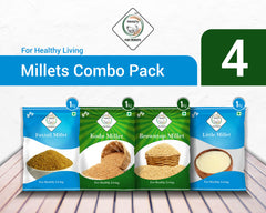 SWASTH Unpolished and Natural Millet Combo Pack of 04 Each-1Kg (Foxtail, Kodo, Browntop, Little Millets)