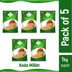 SWASTH Unpolished and Natural Kodo Millet Pack of 5 - 1kg Each (Other Names of Kodo Millet - Koden, Kodra, Varagu, Arikelu, Arika, Harka, Koovaragu, Kodua)