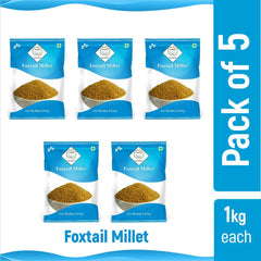 SWASTH Unpolished and Natural Foxtail Millet 05kg Pack of 5 - 1Kg Each (Other Names of Foxtail Millet - Navane, Kangni, Kakum, Rala Thinai, Korra, Navane, Thina Kang, Rala, Kang, Kaon Kanghu, Kangam, Kora)