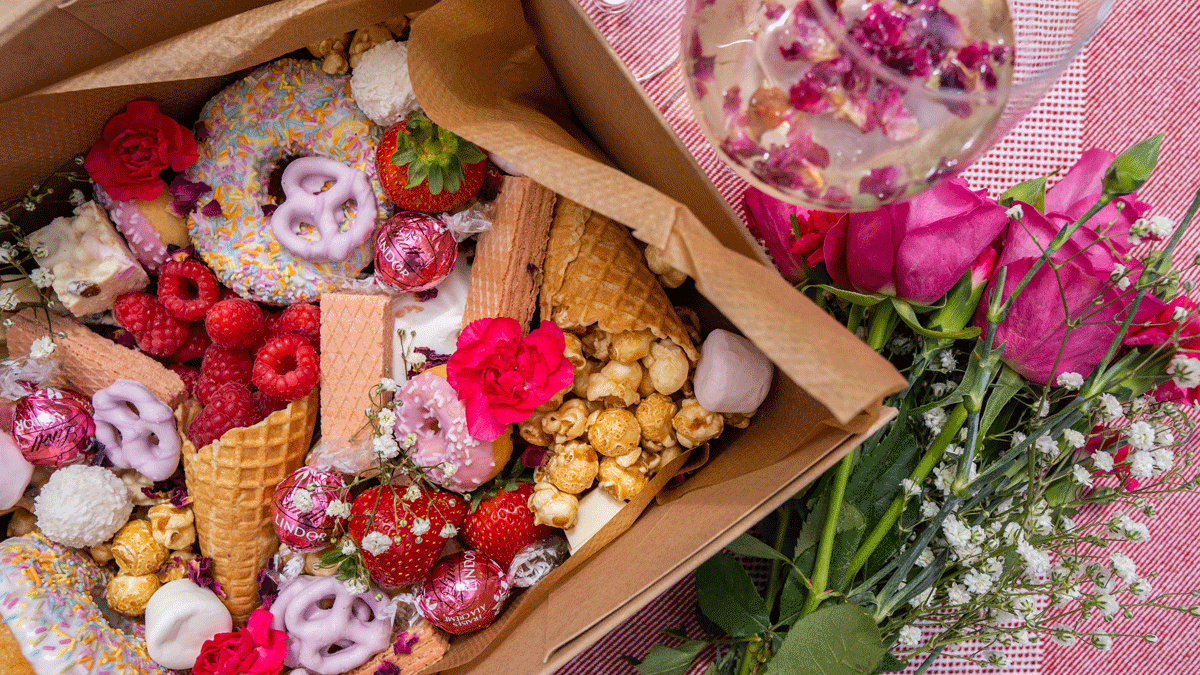 Sweet Dreams Graze Box Donuts and Popcorn