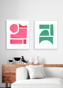 Mid Century Forms Pink + Green Art Print Set