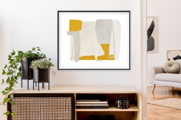 mid century print in gray and yellow