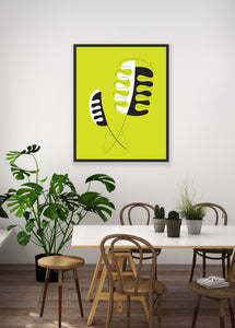 mid century modern house plant print for dining room or kitchen decor