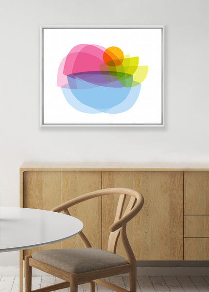 colorful abstract art print, mid century dining room wall decor, kitchen wall art