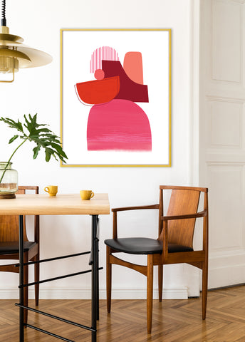 red abstract wall decor