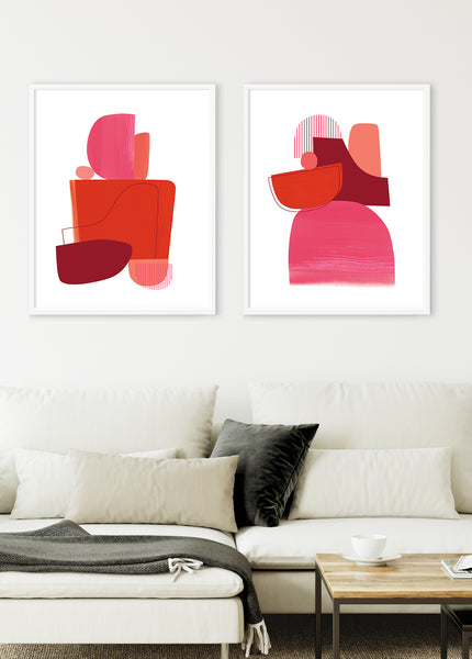 red abstract art print set