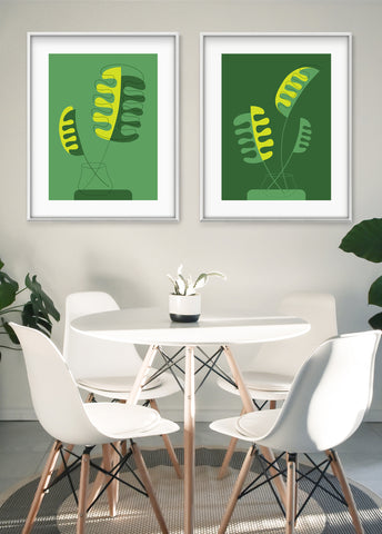 mid century modern art for sale, houseplant art print, dining room wall decor