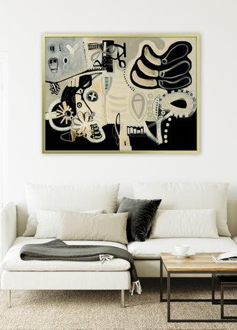 black and white abstract living room decor pricture