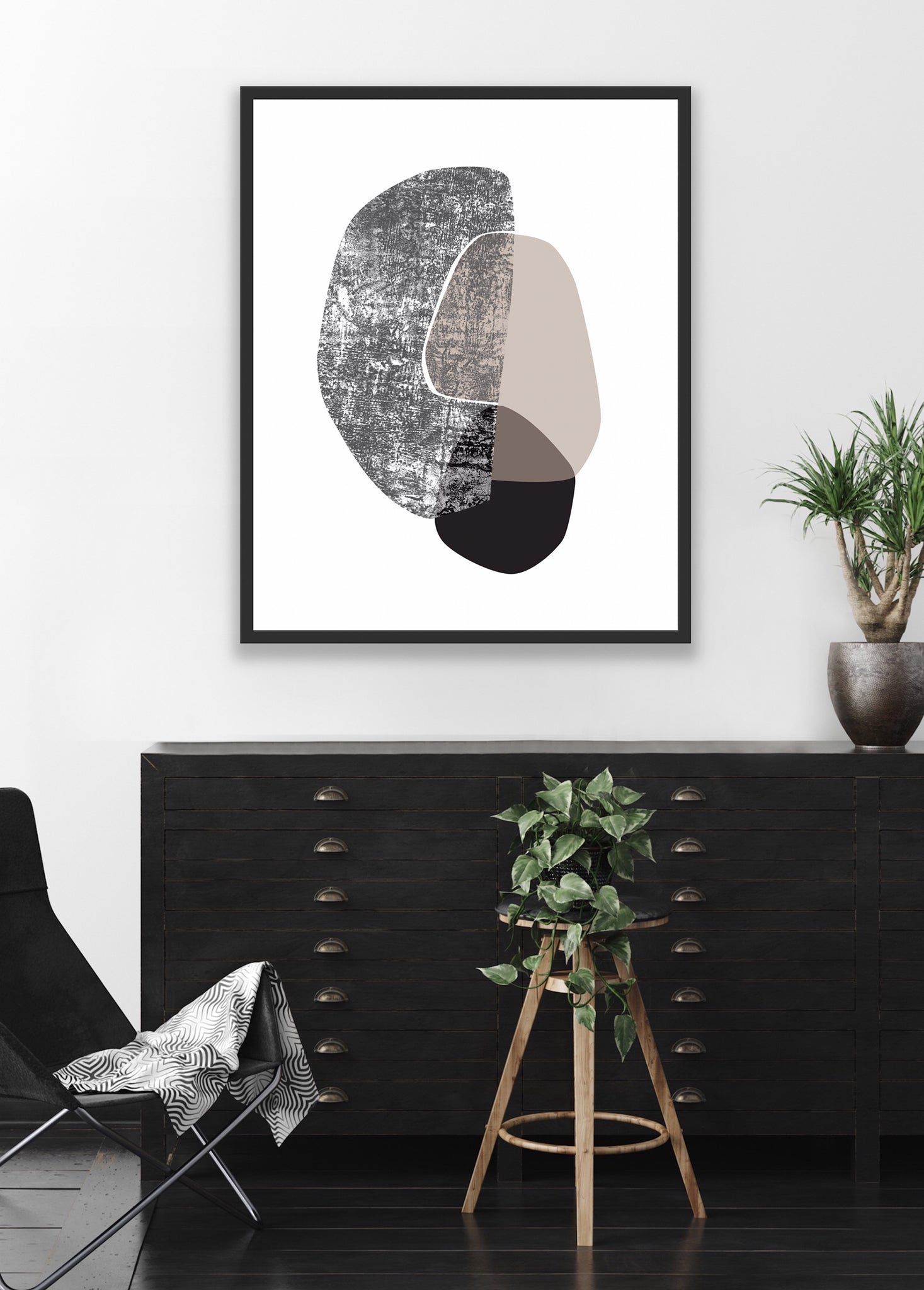 modern black and white art print