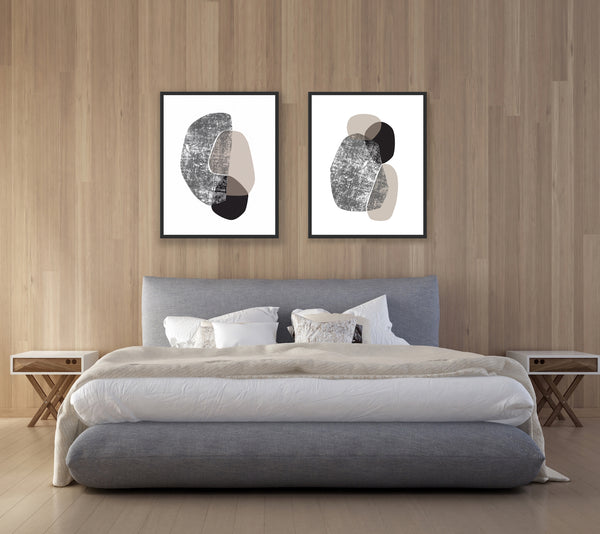 abstract art print set for bedroom wall decor
