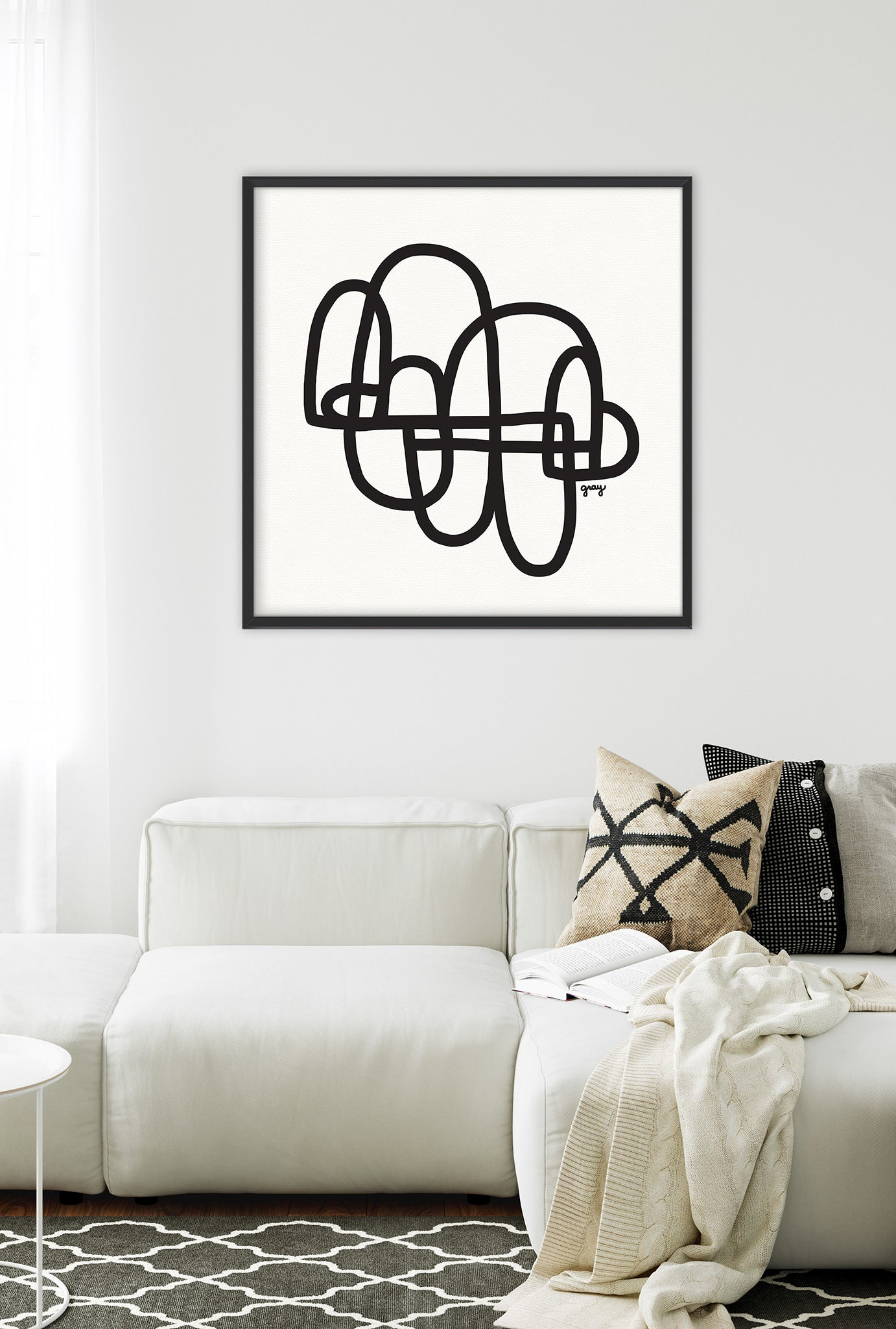 framed minimalist art print black and white