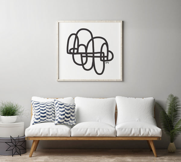 black and white living room art