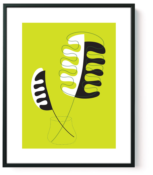 mid century art print lime green