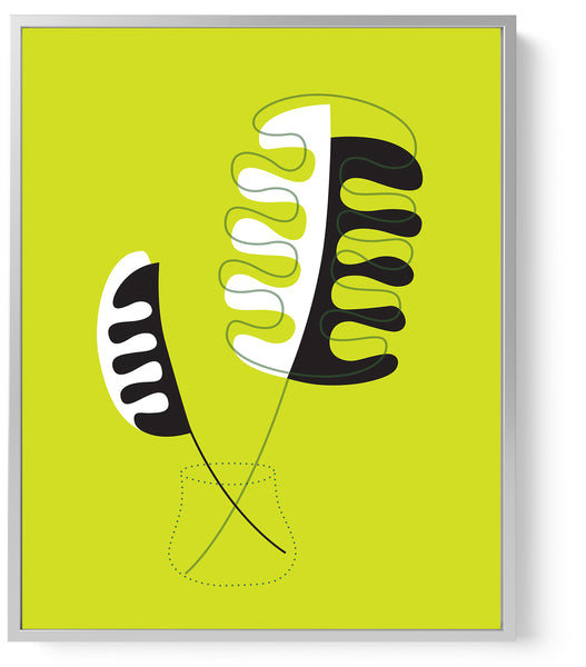 lime green mid century art print