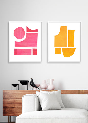 mid century modern art print set of 2 pink and yellow